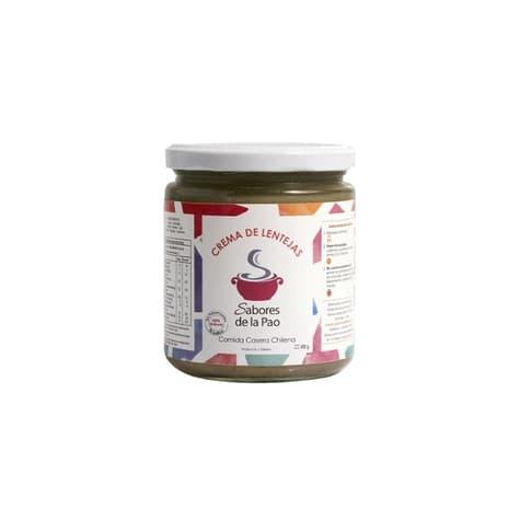 Crema de lentejas para 2 en envase de vidrio 400 gramos de productor chileno despacho entre 30 y 60 minutos