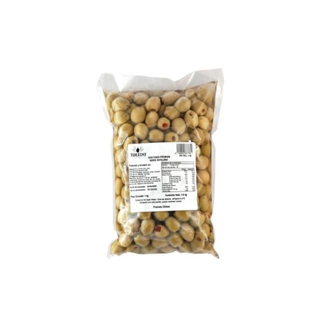 Aceituna sevillana verde rellena con pimentón 1 kilo de productor local despacho entre 30 y 60 minutos
