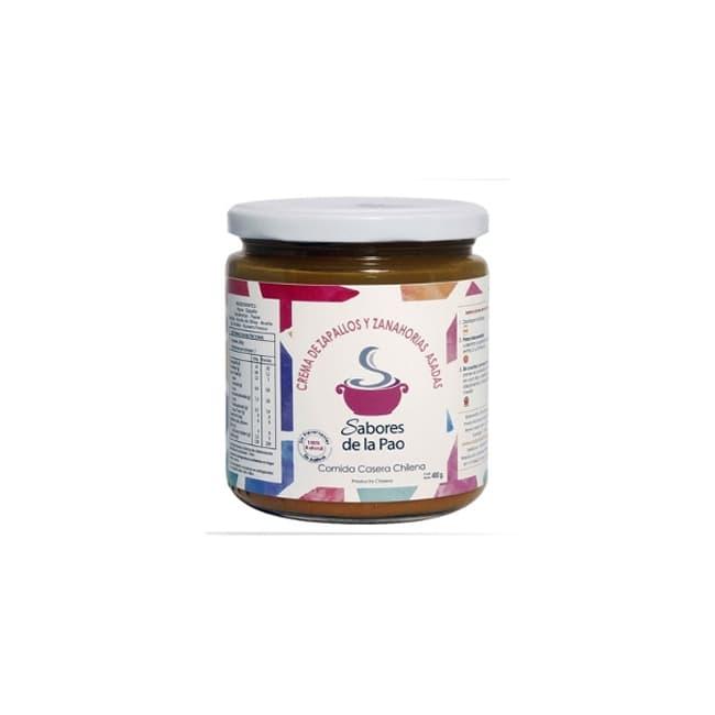 Crema de zapallo y zanahorias asadas en envase de vidrio 400 gramos de productor chileno despacho entre 30 y 60 minuto